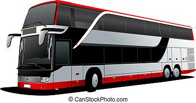 vecteur, decker, coach., double, rouges, bus., illustration, touriste