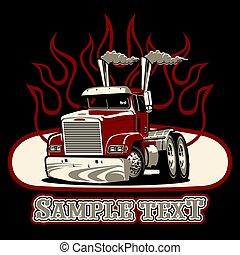vecteur, demi-camion, dessin animé