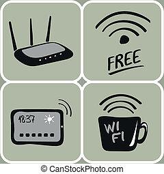 vecteur, dessiné, wifi, main, icônes