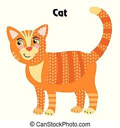 vecteur, dessin animé, chat