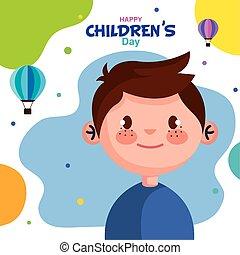vecteur, dessin animé, childrens, garçon, conception, heureux, jour
