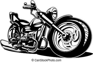 vecteur, dessin animé, moto