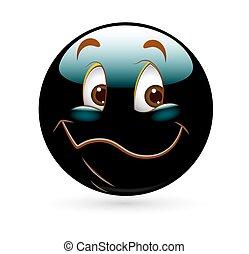 vecteur, dessin animé, smiley, heureux