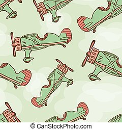 vecteur, dessiner, main, dessin animé, avion, seamless., eps10
