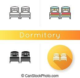 vecteur, deux, privé, couleur, noir, hôtel, unique, hall., appartement, linéaire, résidentiel, lits, couple., salle, linéaire, rgb, area., illustrations, icon., styles., isolé, bedroom.