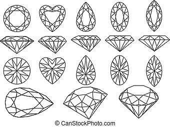vecteur, diamant, ensemble