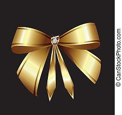 vecteur, diamant, ruban or