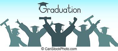 vecteur, diplômés, illustration, habillement, remise de diplomes, gai, silhouette.