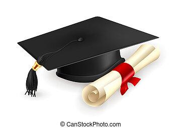vecteur, diplôme, casquette, remise de diplomes