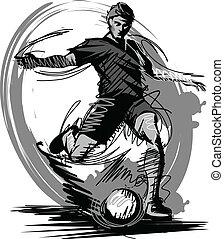 vecteur, donner coup pied, boule football, joueur