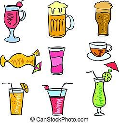 vecteur, doodles, ensemble, art, boisson