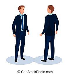 vecteur, dos, devant, homme, business, côté, conception, isométrique