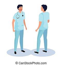 vecteur, dos, devant, homme, côté, conception, docteur, isométrique