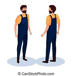 vecteur, dos, devant, homme, côté, conception, jardinier, isométrique