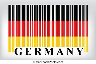 vecteur, drapeau allemagne, barcode