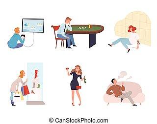 vecteur, drogués, social, gamers, casino, dépendance, alcooliques, drogue, caractères, addicts., gens, services