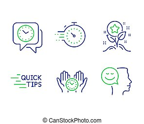 vecteur, education, horloge, temps, points, set., sûr, loyauté, signs., icônes, humeur, bon, minuteur