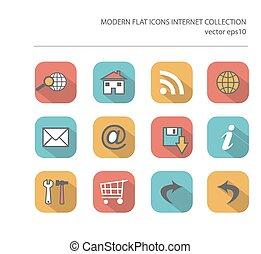 vecteur, effet, moderne, ombre, collection, long, items., élégant, couleurs, icônes, internet, plat