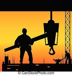 vecteur, endroit, travail, ouvrier, illustration