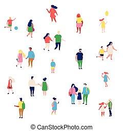 vecteur, endroits, gens, plat, illustration, ensemble, grand, bondé