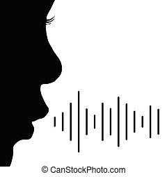 vecteur, enfant, noir, couleur, illustration, voix