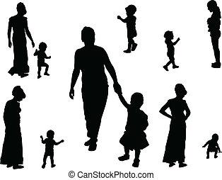 vecteur, -, enfants, collection