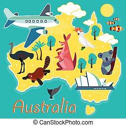 vecteur, enfants, kids., illustration., dessin animé, australie, animal, map.