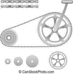 vecteur, engrenage bicyclette