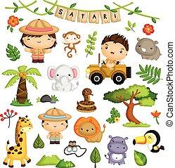 vecteur, ensemble, animal, safari, gosses