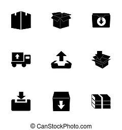 vecteur, ensemble, archive, icône