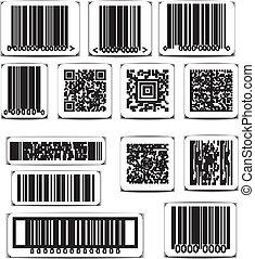 vecteur, ensemble, barcode, étiquette