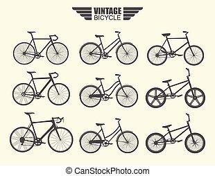 vecteur, ensemble, bicycle.