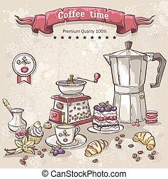 vecteur, ensemble café, tasse, variété, pot, bonbons, turcs