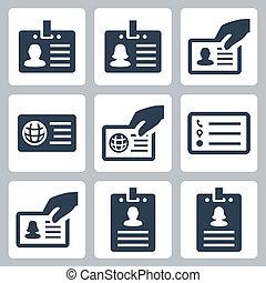 vecteur, ensemble, carte identification, icônes