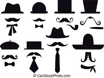 vecteur, ensemble, chapeaux, moustache