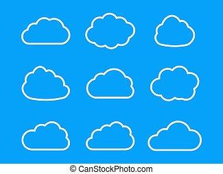 vecteur, ensemble, clouds.