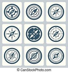 vecteur, ensemble, compas, icône