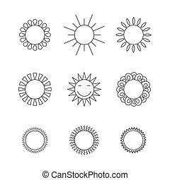 vecteur, ensemble, contour, soleils, icône