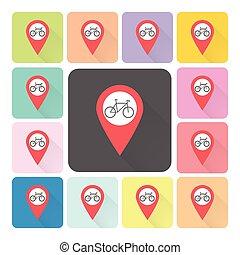 vecteur, ensemble, couleur, illustration, vélo, emplacement, icône