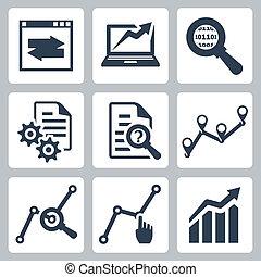 vecteur, ensemble, données, analyse, icônes