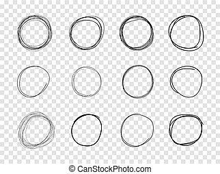 vecteur, ensemble, drawings., cercles, fond, noir, sketched, transparent, éléments
