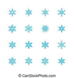 vecteur, ensemble, flocons neige, icône