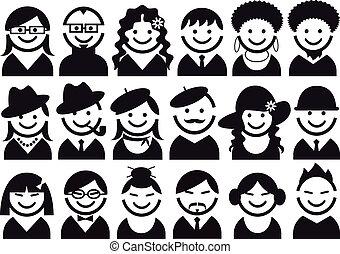 vecteur, ensemble, gens, icône