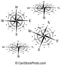 vecteur, ensemble, grunge, compas