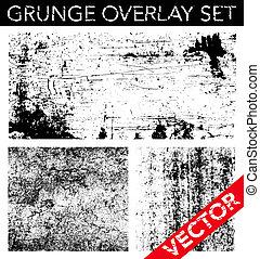 vecteur, ensemble, grunge, voile de surface