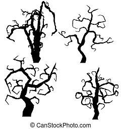 vecteur, ensemble, halloween, isolé, arbres, fond, blanc
