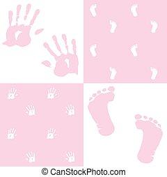 vecteur, ensemble, handprint, girl, empreinte, bébé