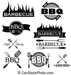 vecteur, ensemble, icônes, isolé, fond, blanc, barbecue