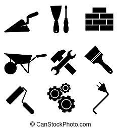 vecteur, ensemble, icônes, isolé, fond, construction, blanc