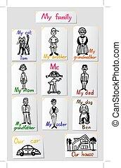 vecteur, ensemble, inscriptions., famille, relations, s, papier, members., caractères, values., dessins, enfants, illustrations.